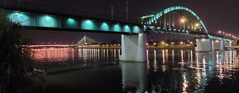 The bridge in Belgrade at night