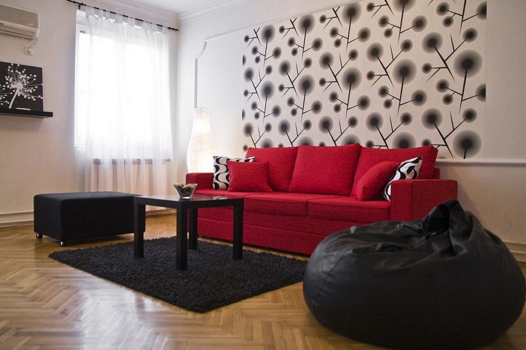 Red sofa in apartment